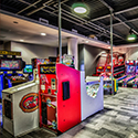 Colorful arcade games inside the Sundial Lodge.