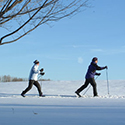 Couple cross country skiing across a snow covered field.
